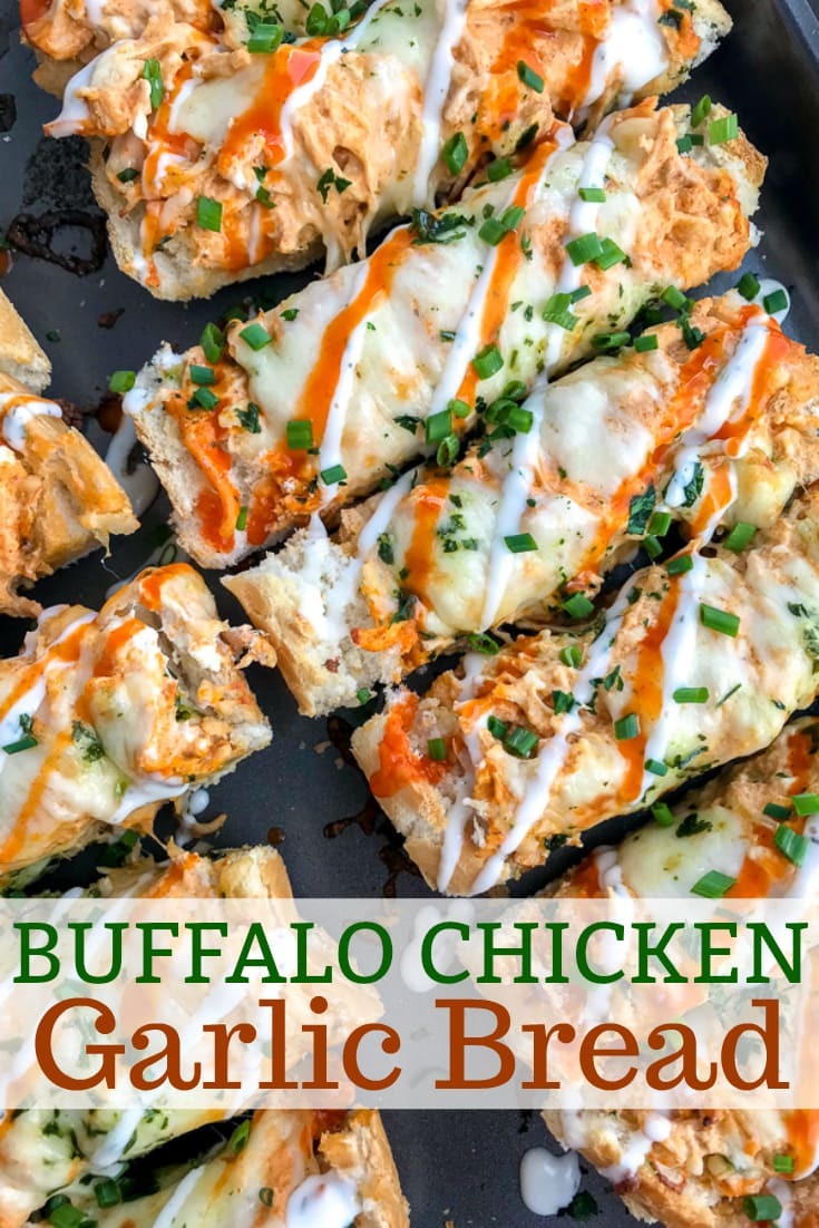 Want an appetizer for your next party or game day that will be a guaranteed crowd-pleaser? Have them begging you to make this creamy, cheesy, and incredibly indulging Buffalo Chicken Garlic Bread! #garlicbread #easyappetizers #appetizers #gameday #buffalochicken | https://withpeanutbutterontop.com