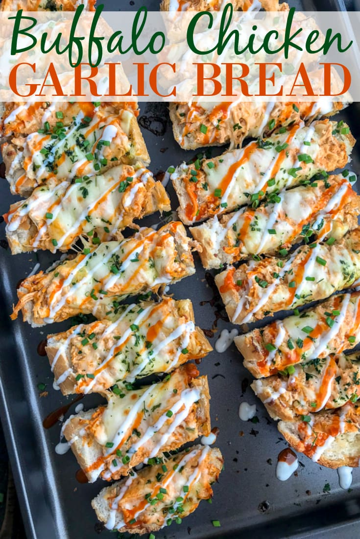 Want an appetizer for your next party or game day that will be a guaranteed crowd-pleaser? Have them begging you to make this creamy, cheesy, and incredibly indulging Buffalo Chicken Garlic Bread! #garlicbread #easyappetizers #appetizers #gameday #buffalochicken   https://withpeanutbutterontop.com