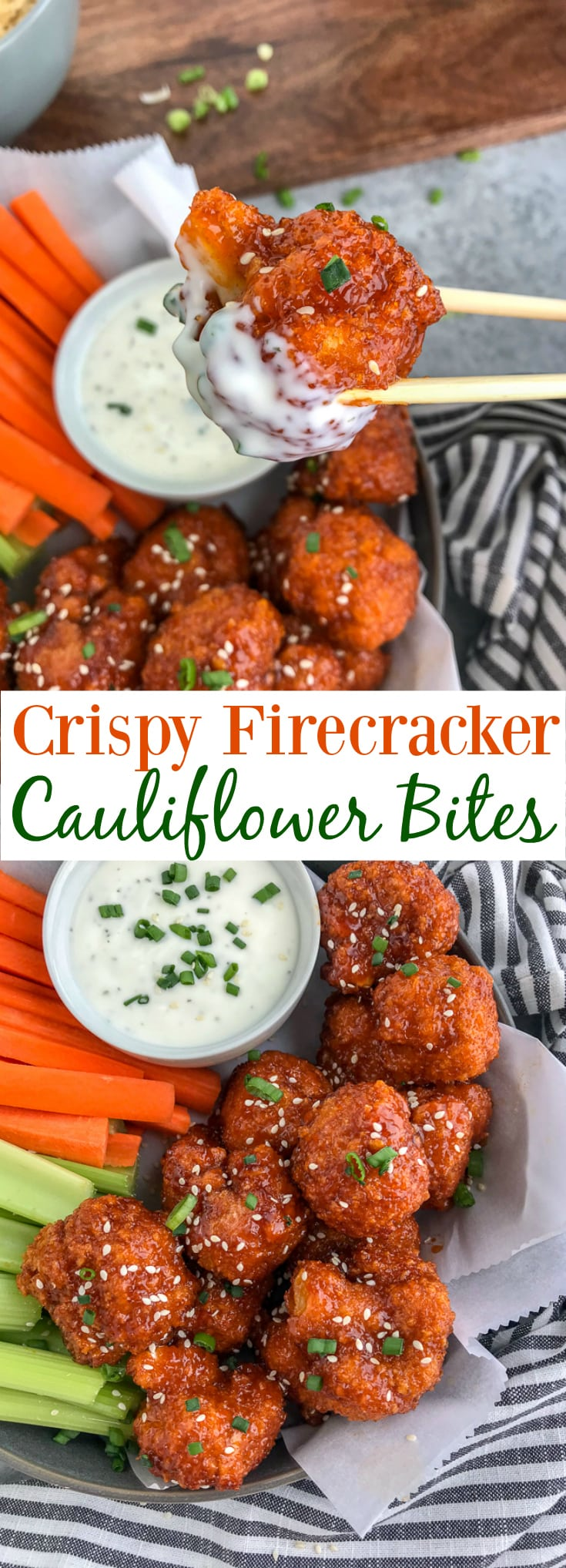 Cauliflower florets battered and baked until super crispy and then tossed in the an incredible sweet and spicy sauce. Sticky, crispy and so easy to make, you'll be throwing your takeout menus away! #firecracker #firecrackercauliflower #cauliflower #takeout | https://withpeanutbutterontop.com