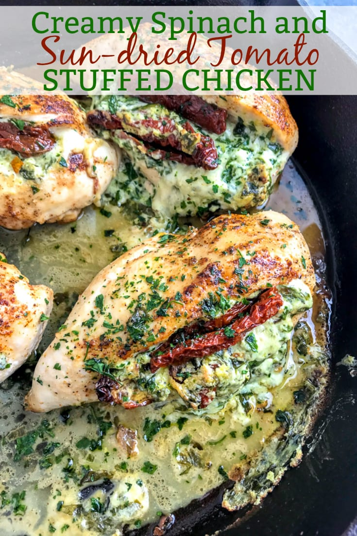 Creamy and cheesy spinach and sun-dried tomato stuffed chicken breast that is undeniably delicious! You will be savoring each bite! A wonderful spin on stuffed chicken that will delight your family at the dinner table! #stuffedchicken #chicken #creamyspinach   https://withpeanutbutterontop.com