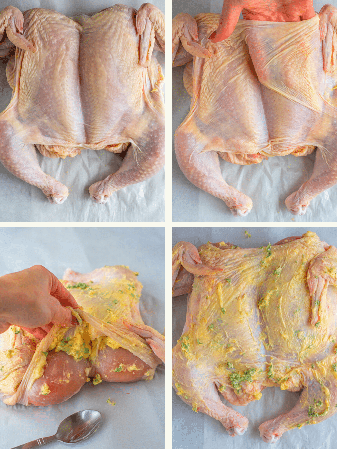 Lemon Garlic Butter Butterfly Chicken and Veggies. Photo collage of how to butterfly a whole chicken.