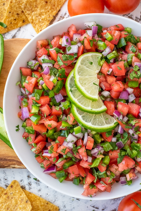 Bowl filled with homemade pico de gallo.