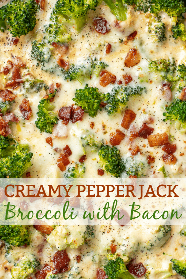 Skillet filled with broccoli and bacon in a creamy pepper jack cheese sauce.