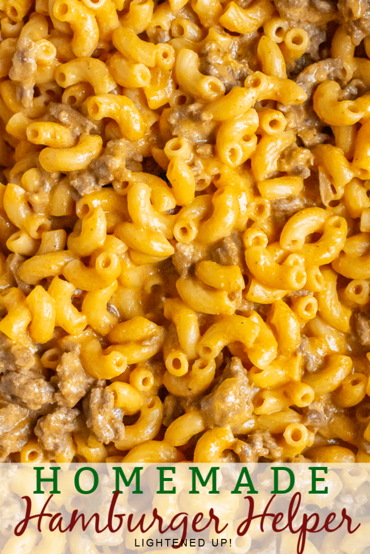 Close up photo of Homemade Hamburger Helper - macaroni and ground beef in a creamy cheddar cheese sauce.