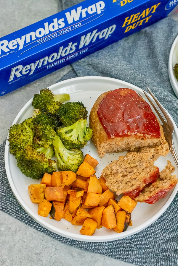 Dinner plate filled with turkey meatloaf, sweet potato chunks and broccoli.