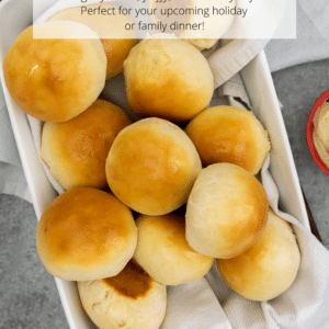 Baking dish filled with baked dinner rolls.